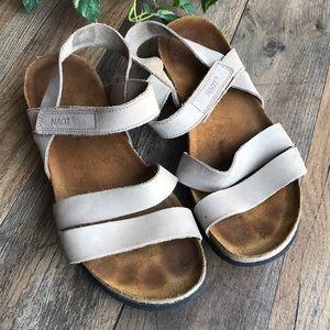 NAOT Sandals Ankle Strap Tan Beige Cork